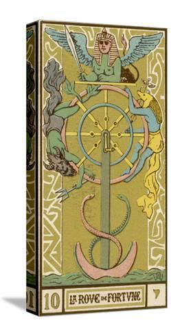 Tarot: 10 La Roue de Fortune, The Wheel of Fortune-Oswald Wirth-Stretched Canvas Print