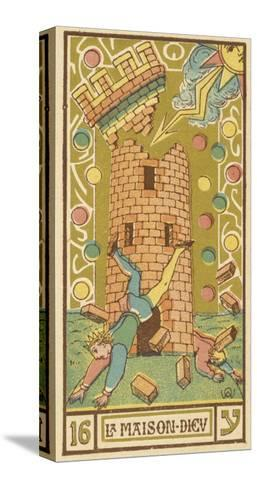 Tarot: 16 La Maison Dieu, The Tower-Oswald Wirth-Stretched Canvas Print