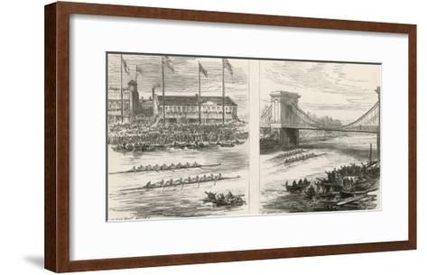 The Boat Houses at Hammersmith Race--Framed Art Print