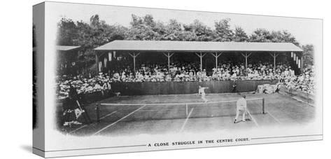 Men's Singles Match on Centre Court at Wimbledon--Stretched Canvas Print