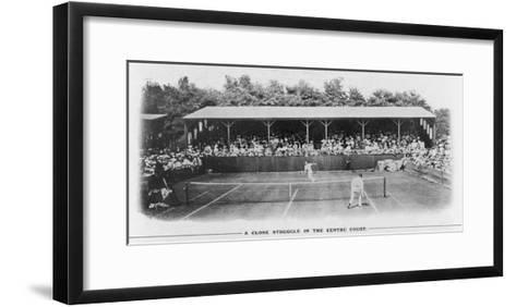 Men's Singles Match on Centre Court at Wimbledon--Framed Art Print