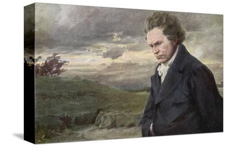 Ludwig Van Beethoven Beethoven out for a Walk on a Windy Day-H^ Wulff-Stretched Canvas Print