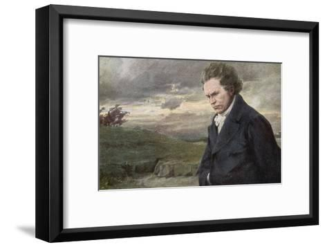 Ludwig Van Beethoven Beethoven out for a Walk on a Windy Day-H^ Wulff-Framed Art Print