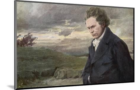 Ludwig Van Beethoven Beethoven out for a Walk on a Windy Day-H^ Wulff-Mounted Giclee Print