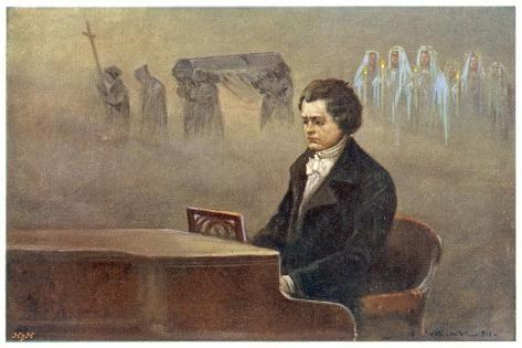 Ludwig Van Beethoven While Sitting at His Piano Beethoven Contemplates His Vision of Death--Stretched Canvas Print