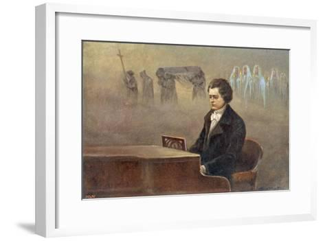 Ludwig Van Beethoven While Sitting at His Piano Beethoven Contemplates His Vision of Death--Framed Art Print