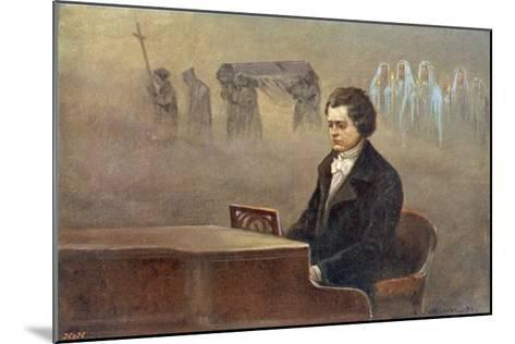 Ludwig Van Beethoven While Sitting at His Piano Beethoven Contemplates His Vision of Death--Mounted Giclee Print