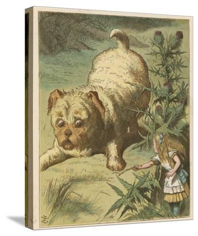 Alice and the Puppy-John Tenniel-Stretched Canvas Print
