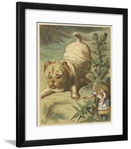 Alice and the Puppy-John Tenniel-Framed Art Print