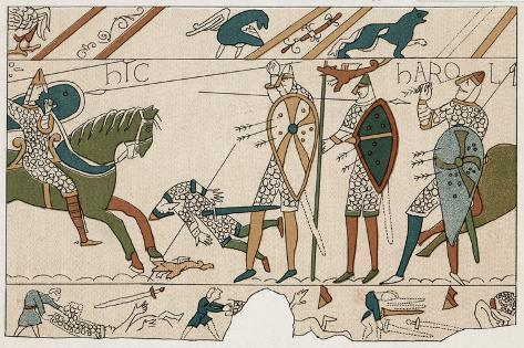Bayeux Tapestry: Battle of Hastings Harold is Fatally Injured When an Arrow Pierces His Eye--Stretched Canvas Print