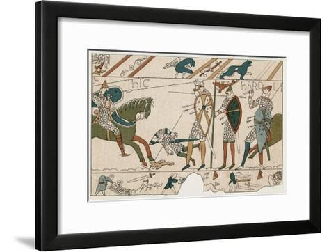 Bayeux Tapestry: Battle of Hastings Harold is Fatally Injured When an Arrow Pierces His Eye--Framed Art Print