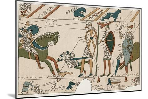 Bayeux Tapestry: Battle of Hastings Harold is Fatally Injured When an Arrow Pierces His Eye--Mounted Giclee Print