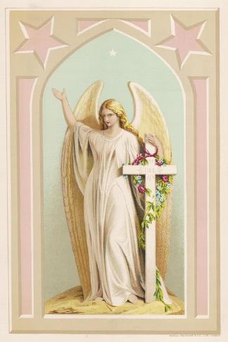 """""""The Spirit of Faith"""", an Angel Stands by a Cross and Indicates the General Direction of Heaven--Stretched Canvas Print"""