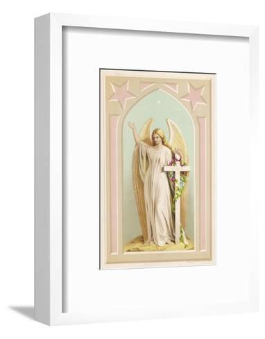 """""""The Spirit of Faith"""", an Angel Stands by a Cross and Indicates the General Direction of Heaven--Framed Art Print"""