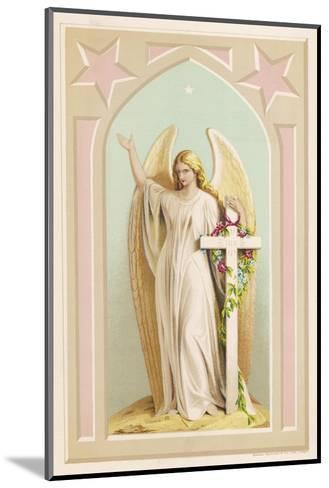 """""""The Spirit of Faith"""", an Angel Stands by a Cross and Indicates the General Direction of Heaven--Mounted Giclee Print"""