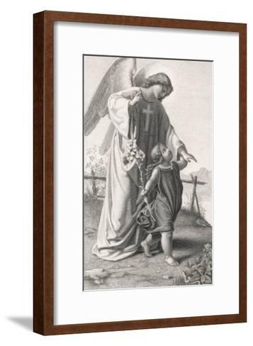 Guardian Angel Leads a Small Child Along a Dangerous Mountain Path with a Broken Fence-X. Steiffensand-Framed Art Print