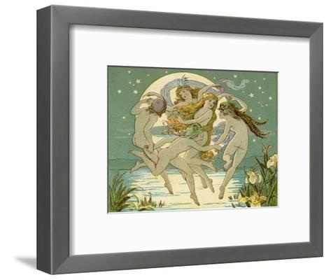 Five Sky-Clad Fairies Dance in the Air Above a Lake-Emily Gertrude Thomson-Framed Art Print