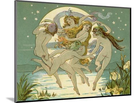 Five Sky-Clad Fairies Dance in the Air Above a Lake-Emily Gertrude Thomson-Mounted Giclee Print