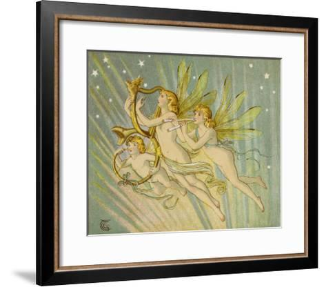 Three Fairy Musicians Wearing Sashes Fly Through the Air Making Music as They Go-Emily Gertrude Thomson-Framed Art Print