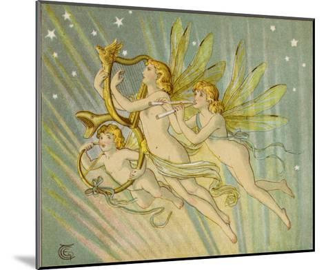 Three Fairy Musicians Wearing Sashes Fly Through the Air Making Music as They Go-Emily Gertrude Thomson-Mounted Giclee Print