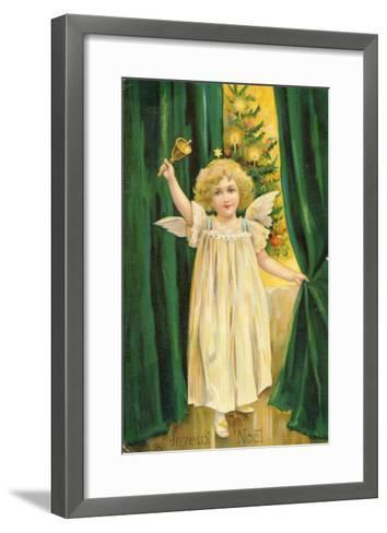 Little Angel with a Little Bell Summons Us to Come to the Christmas Tree--Framed Art Print