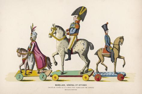 French Wooden Toy Soldiers on Their Horses Which Have Wheels--Stretched Canvas Print