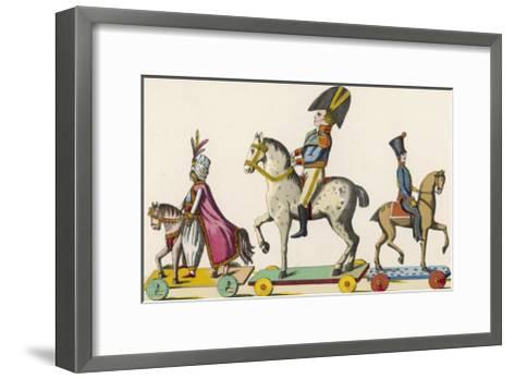 French Wooden Toy Soldiers on Their Horses Which Have Wheels--Framed Art Print