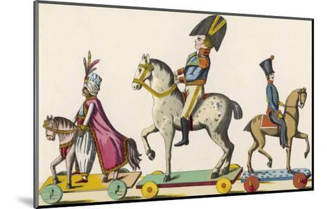 French Wooden Toy Soldiers on Their Horses Which Have Wheels--Mounted Giclee Print