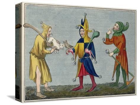 Court Jesters of the 14th Century-Joseph Strutt-Stretched Canvas Print