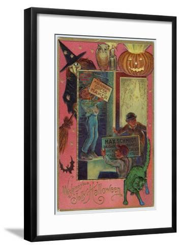 Hallowe'en Witch Offers Suitable Costume a Shopkeeper Provides Appropriate Eats--Framed Art Print