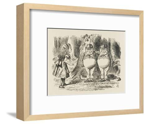 Alice Meets Tweedledum and Tweedledee-John Tenniel-Framed Art Print