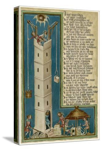 Jesus from Heaven Looks Down Apprehensively at the Builders of the Tower of Babel--Stretched Canvas Print