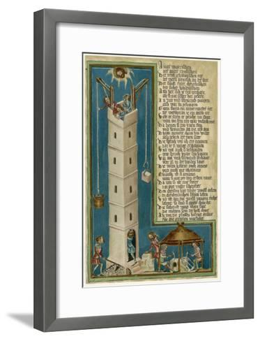 Jesus from Heaven Looks Down Apprehensively at the Builders of the Tower of Babel--Framed Art Print