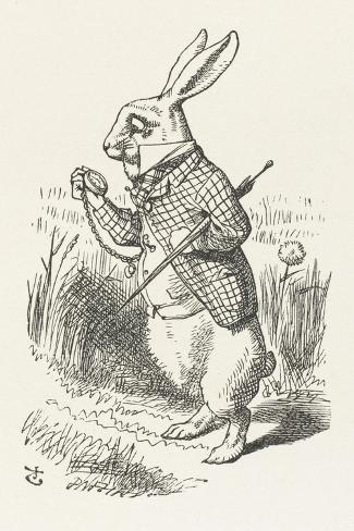 The White Rabbit Checks His Watch-John Tenniel-Stretched Canvas Print