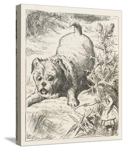 Alice (Shrunk) with the Puppy-John Tenniel-Stretched Canvas Print