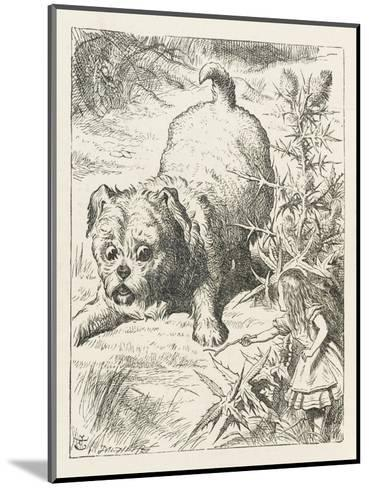 Alice (Shrunk) with the Puppy-John Tenniel-Mounted Giclee Print
