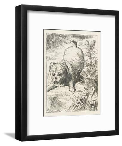 Alice (Shrunk) with the Puppy-John Tenniel-Framed Art Print