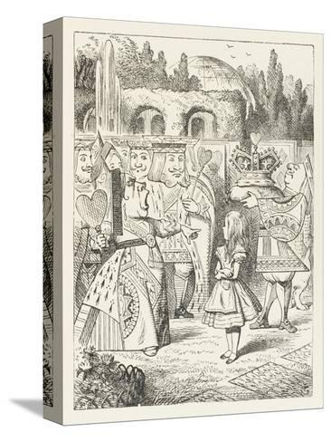 """Alice and the Queen of Hearts """"Off with Her Head!""""-John Tenniel-Stretched Canvas Print"""