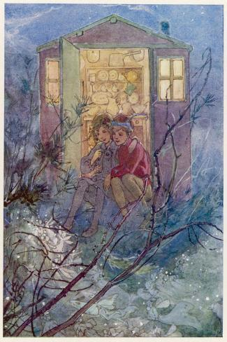Peter Pan and Wendy Sit on the Doorstep of the Wendy House-Alice B^ Woodward-Stretched Canvas Print