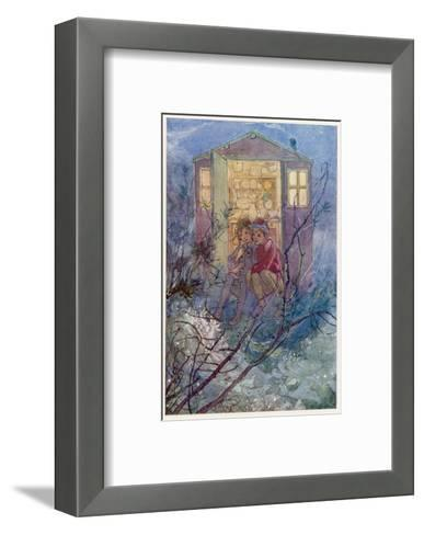 Peter Pan and Wendy Sit on the Doorstep of the Wendy House-Alice B^ Woodward-Framed Art Print