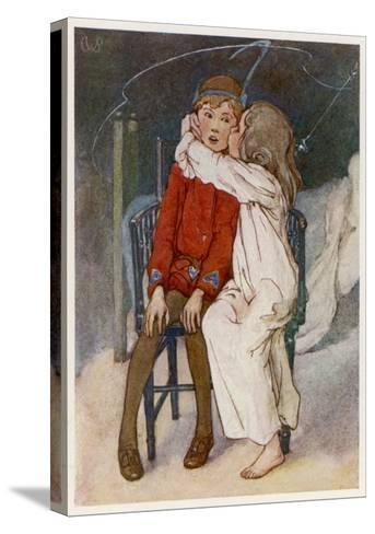 Peter Pan Being Kissed Gently on the Cheek by Wendy-Alice B^ Woodward-Stretched Canvas Print