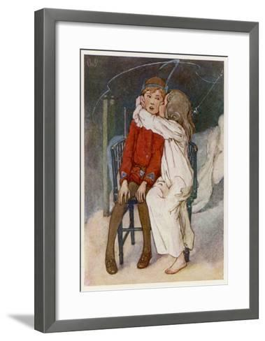 Peter Pan Being Kissed Gently on the Cheek by Wendy-Alice B^ Woodward-Framed Art Print