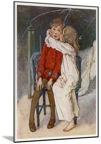 Peter Pan Being Kissed Gently on the Cheek by Wendy-Alice B^ Woodward-Mounted Giclee Print