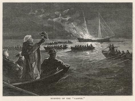 """The """"Gaspee"""" is Burned by Rebels off Rhode Island--Stretched Canvas Print"""