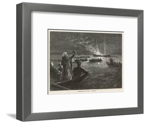 "The ""Gaspee"" is Burned by Rebels off Rhode Island--Framed Art Print"