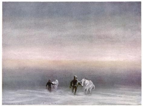 Scott Exercising the Ponies Through the Snow-Edward A^ Wilson-Stretched Canvas Print