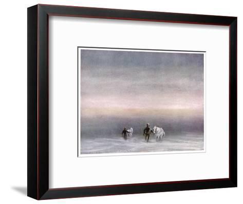 Scott Exercising the Ponies Through the Snow-Edward A^ Wilson-Framed Art Print
