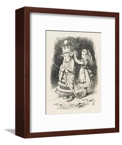 White Queen Alice Adjusts the White Queen's Shawl-John Tenniel-Framed Art Print
