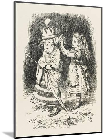 White Queen Alice Adjusts the White Queen's Shawl-John Tenniel-Mounted Giclee Print