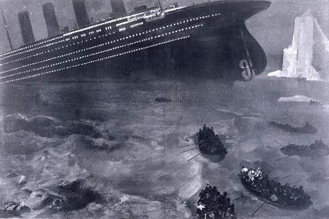 Lifeboats in the Freezing Choppy Waters Frantically Row Away from the Doomed Wreck of the Titanic--Stretched Canvas Print